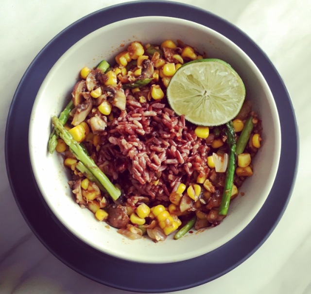 Spring Stir Fry with Red Rice